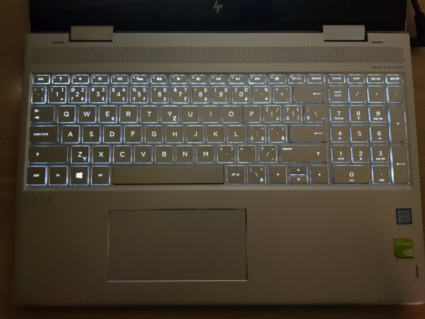 HP Envy 15 - backlit keyboard