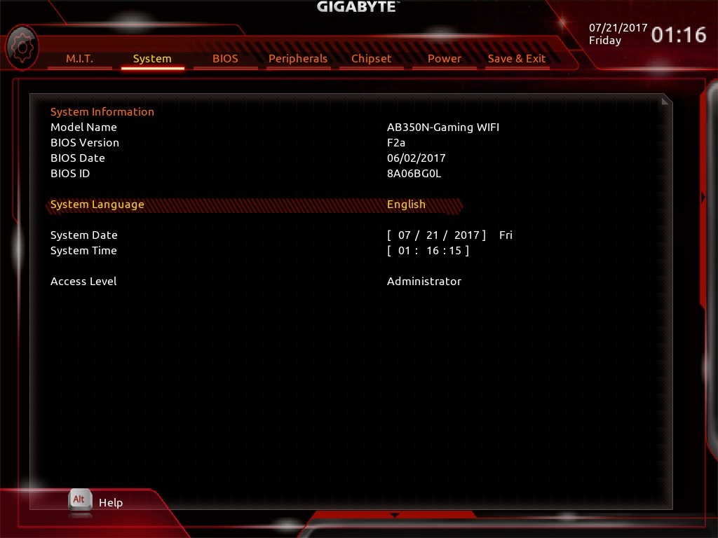 Gigabyte AB350N GAMING WIFI; UEFI; System overview
