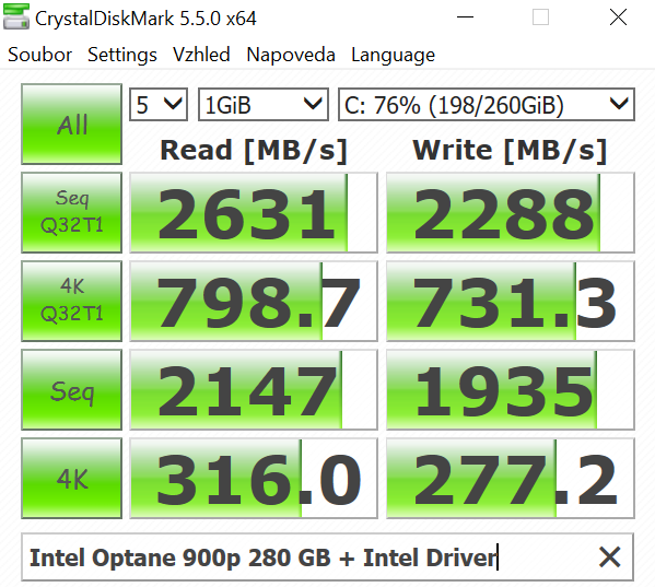 SSD Intel Optane 900p; Crystal Disk Mark