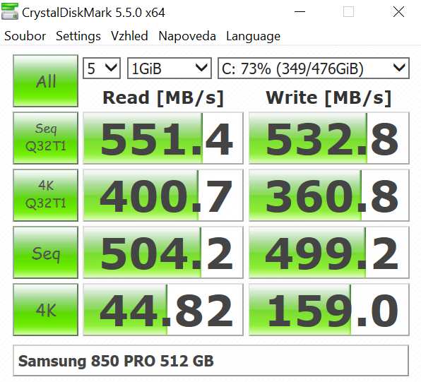 Samsung 850 PRO 512 GB; Crystal Disk Mark
