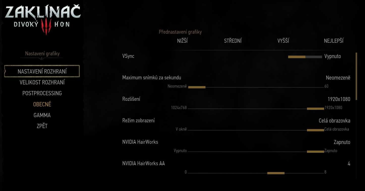 The Witcher 3: Wild Hunt Game General Settings 1