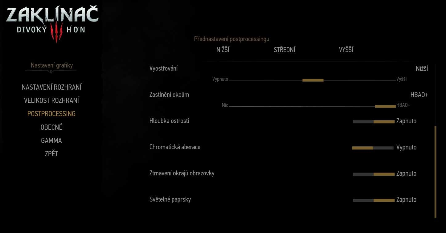 The Witcher 3: Wild Hunt Game Settings Postprocessing 2