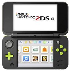 NEW Nintendo 2DS XL Black & Lime Green + Mario Kart 7 - Game Console