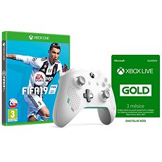 Xbox One Wireless Controller Sport White + FIFA 19 + Xbox Live 3 Month Gold - Set