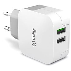 CELLY travel charger TURBO 2 USB ports white - Charger