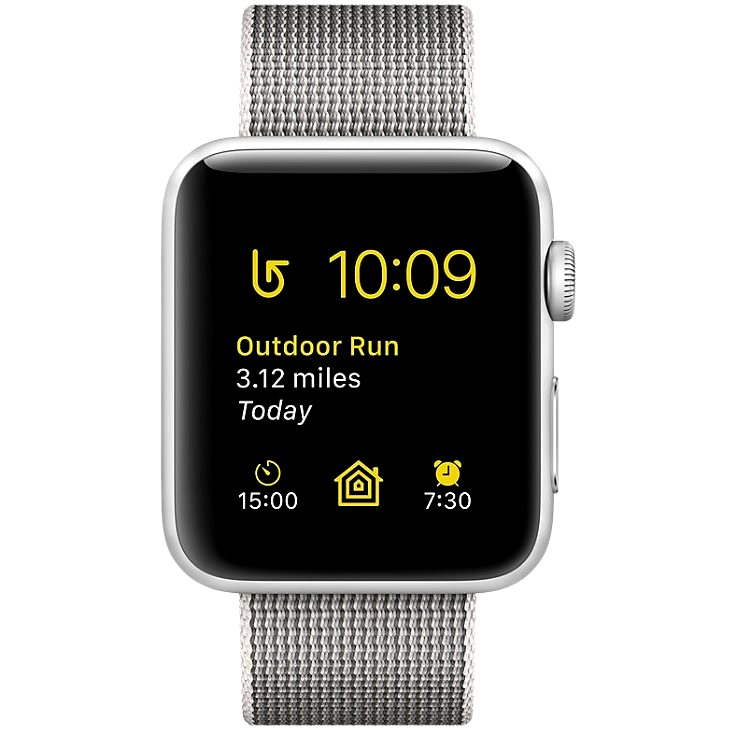 Apple Watch Series 2 38 mm aluminum with silver pearl gray strap made of woven nylon - Smartwatch
