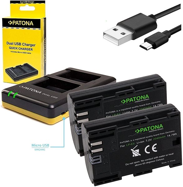 2X LP E6 Battery + Dual Charger for