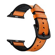 Eternico 38mm Apple Watch Leather and Silicone Band, Orange - Watch band