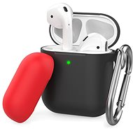 AhaStyle Case Airpods 1 & 2 with Clip Black/Red - Headphone Case