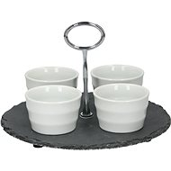 ALPINA EDCO Set of Snack Bowls on a Slate Tray, 25cm - Bowl Set