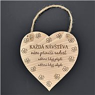 "AMADEA Wooden Heart with the Inscription ""Every Visit"", Solid Wood, 16 x 15cm - Decoration"