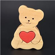 AMADEA Wooden Bear with Heart, Solid Wood, 6x4,5x2cm - Decoration