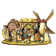 AMADEA Wooden Folding Nativity Scene with Cottage and Mill 3D 24cm - Decoration
