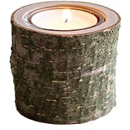 AMADEA Wooden Candlestick Bark Trunk, Solid Wood, Height 6cm - Candlestick