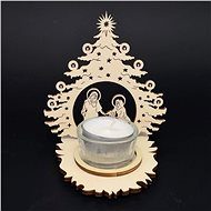 AMADEA Wooden Candlestick Nativity Scene in a Tree, 11cm - Candlestick