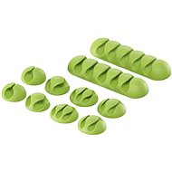 Cable Organiser AlzaPower Cable Clips Mix, 10pcs, Green - Organizér kabelů