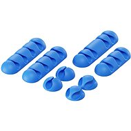 AlzaPower Cable Clips Mix, 8pcs, Blue - Cable Organiser