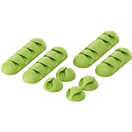 AlzaPower Cable Clips Mix, 8pcs, Green - Cable Organiser
