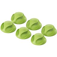 AlzaPower Cable Clips, 6pcs, Green - Cable Organiser