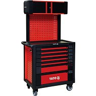 YATO Workshop mobile case 7 drawers + firm back with top box, red - cabinet