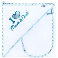 New Baby Luxurious Baby Bath Towel I Love Mum And Dad 90 × 90cm White-Blue - Towels for babies