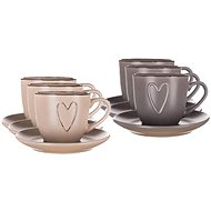 BANQUET Cup with saucer HEART 260 ml, mix of colours, 6pcs - Cup & Saucer Set