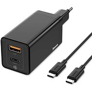 Baseus GaN Quick Travel Charger 45W + Type-C (USB-C) Cable 60W 1m Black - AC Adapter