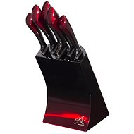 BerlingerHaus Black Burgundy Metallic Line 6-piece Knife Set with stand