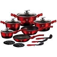 BerlingerHaus BH-1632 15pcs Cookware Set Black Burgundy Metallic Line - Cookware Set