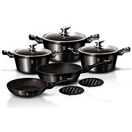 Berlinger Haus 10-Piece Marble Coated Cookware Set Royal Black Edition BH-1663 - Pot Set