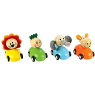 Colourful Wooden Cars with Animals - Toy Vehicle