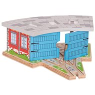 Bigjigs Triple Engine Shed with Doors - Rail set accessory