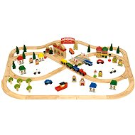 Bigjigs Wooden Train Set - Town and Country 101 pieces - Train Set