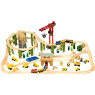 Bigjigs Excavating train with 116 pieces of construction machinery - Train Set