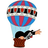 Wooden decoration - Little Mole in a hot air balloon - Children's bedroom decoration