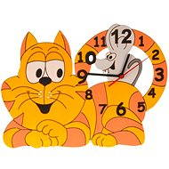 Kids' Wooden Clock - Cat with a Mouse - Children's Clock