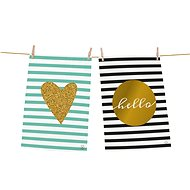 Butter Kings Set of 2 Towels Gold Heart - Dish towel