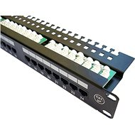 "DATACOM Patch Panel 19"" UTP 24 port CAT5E LSA 1U BK (3x8p) hor. pos. - Patch Panel"