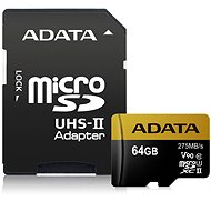 ADATA Premier ONE MicroSDXC 64GB UHS-II U3 Class 10 + SD adapter - Memory Card
