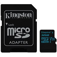 Kingston Canvas Go! MicroSDHC 32GB UHS-I U3 + SD Adapter - Memory Card