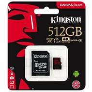Kingston Canvas React MicroSDXC 512GB A1 UHS-I V30 + SD Adapter - Memory Card