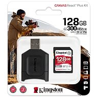 Kingston Canvas React Plus SDXC 128GB + SD Adapter & Card Reader - Memory Card