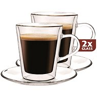 Maxxo Thermo DF909 Glass Cups + 2 Saucers - Glass for Hot Drinks