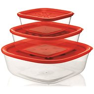 forme casa Set of 3pcs Transparent Plastic Containers 570ml, 1400ml, 2950ml with Red Lid