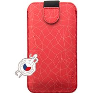 FIXED Soft Slim with PU Closure, PU Leather, 4XL Size + Red Mesh Motif - Mobile Phone Case