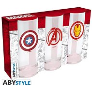 Marvel Heroes - 3x Glasses - Glass for Cold Drinks