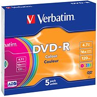 Verbatim DVD-R 16x, COLOURS 5pcs in SLIM box