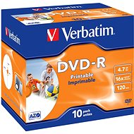 Verbatim DVD-R 16x, Printable 10pcs in Jewel Cases