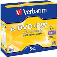 Verbatim DVD+RW 4x, 5pcs in Jewel Cases