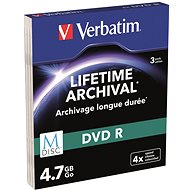 VERBATIM M-DISC DVD-R 4X 4.7GB MATT SILVER SLIM 3pcs/Case - Media